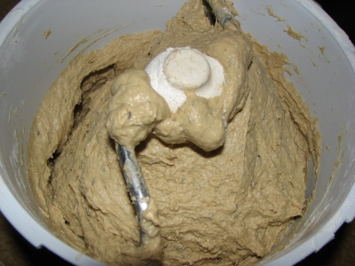 Rye dough after autolyse
