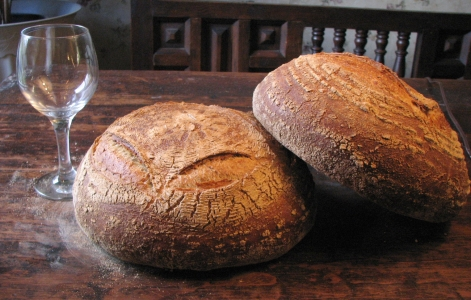 Breads with wineglass