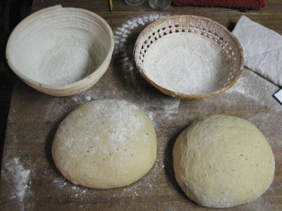 dough waiting to be put in the baskets